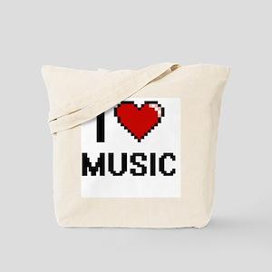 I Love Music Digital Retro Design Tote Bag