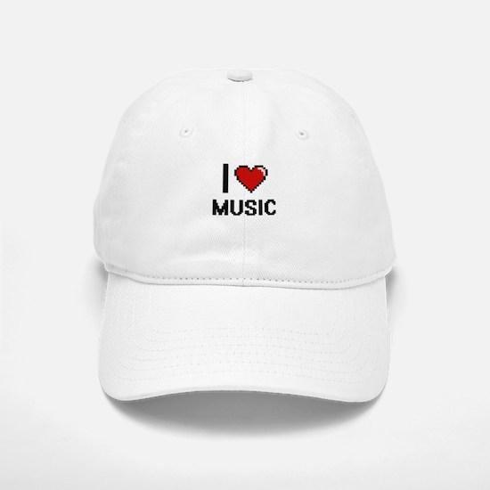 I Love Music Digital Retro Design Baseball Baseball Cap