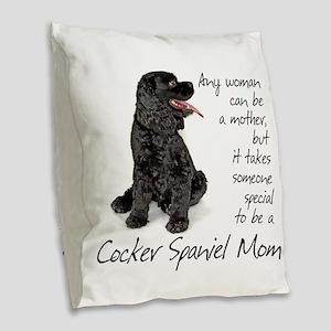 Cocker Spaniel Mom Burlap Throw Pillow