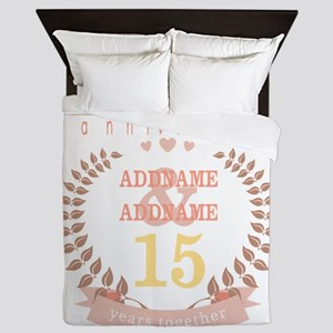 Personalized Name and Year Anniversary Queen Duvet