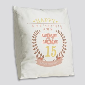 Personalized Name and Year Ann Burlap Throw Pillow