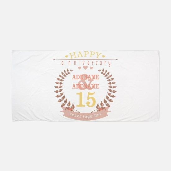 Personalized Name and Year Anniversary Beach Towel