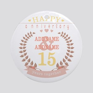 Personalized Name and Year Annive Ornament (Round)