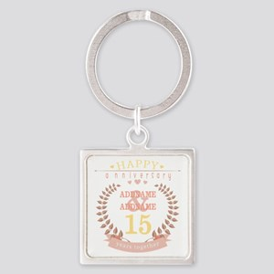 Personalized Name and Year Anniver Square Keychain
