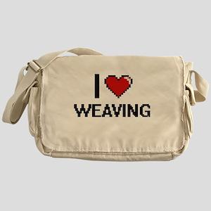 I Love Weaving Digital Retro Design Messenger Bag