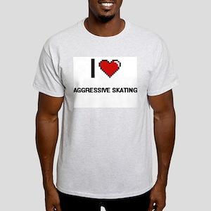 I Love Aggressive Skating Digital Retro De T-Shirt