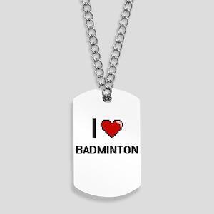 I Love Badminton Digital Retro Design Dog Tags
