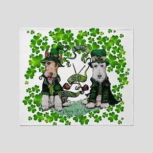 Fox Terrier St. Patrick's Day Throw Blanket