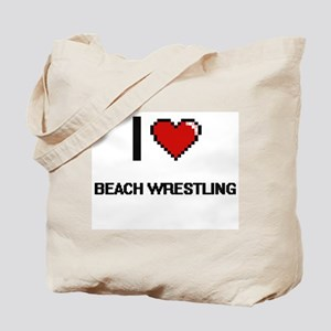 I Love Beach Wrestling Digital Retro Desi Tote Bag
