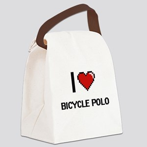I Love Bicycle Polo Digital Retro Canvas Lunch Bag