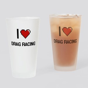I Love Drag Racing Digital Retro De Drinking Glass