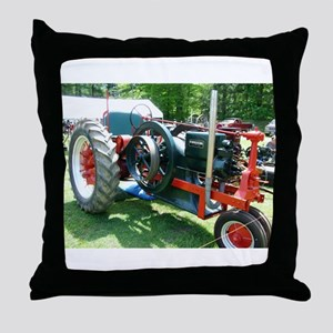 antique red tractor Throw Pillow