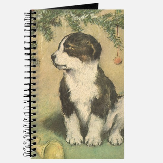 Vintage Christmas Puppy Journal