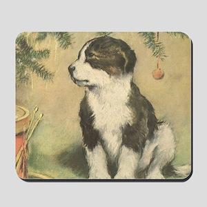 Vintage Christmas Puppy Mousepad