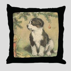 Vintage Christmas Puppy Throw Pillow