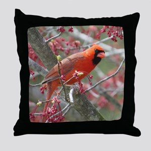 Flower Cardinal Throw Pillow