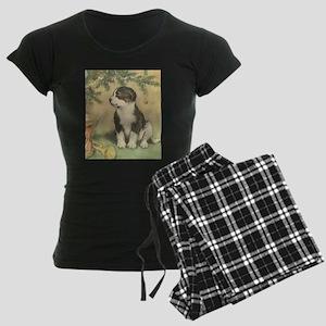 Vintage Christmas Puppy Women's Dark Pajamas