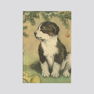 Vintage Christmas Puppy Rectangle Magnet