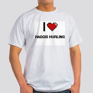 I Love Haggis Hurling Digital Retro Design T-Shirt