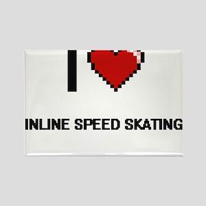 I Love Inline Speed Skating Digital Retro Magnets