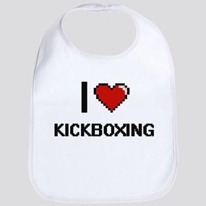 I Love Kickboxing Digital Retro Design Bib