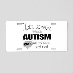 Love and autism Aluminum License Plate
