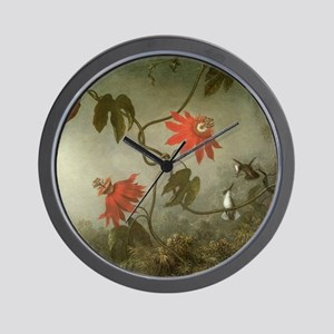Passion Flowers and Hummingbirds by Mar Wall Clock