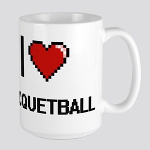 I Love Racquetball Digital Retro Design Mugs