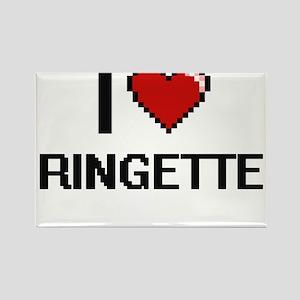 I Love Ringette Digital Retro Design Magnets