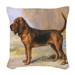 Vintage Bloodhound Woven Throw Pillow