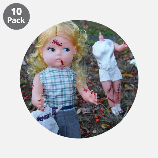 "doll zombies 3.5"" Button (10 pack)"