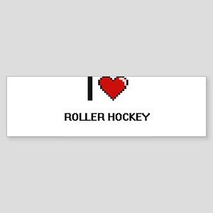 I Love Roller Hockey Digital Retro Bumper Sticker