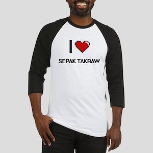 I Love Sepak Takraw Digital Retro Baseball Jersey