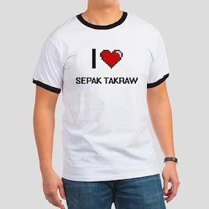 I Love Sepak Takraw Digital Retro Design T-Shirt