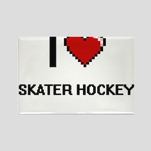 I Love Skater Hockey Digital Retro Design Magnets