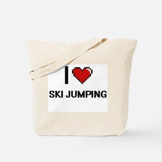 I Love Ski Jumping Digital Retro Design Tote Bag
