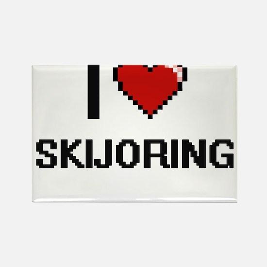 I Love Skijoring Digital Retro Design Magnets