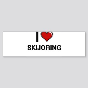 I Love Skijoring Digital Retro Desi Bumper Sticker