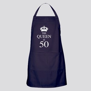 The Queen Is 50 Apron (dark)