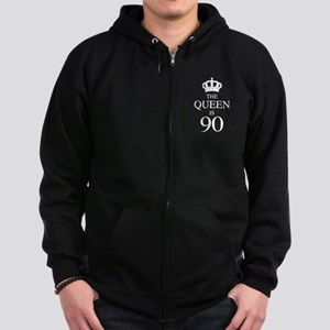 The Queen Is 90 Zip Hoodie (dark)