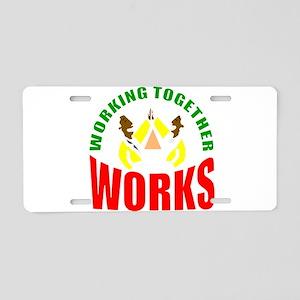 African American teamwork Aluminum License Plate