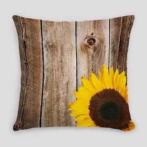 Rustic Barn Wood Sunflower Everyday Pillow
