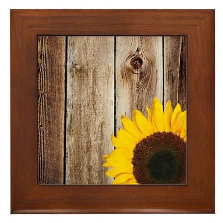 Attractive Rustic Barn Wood Sunflower Framed Tile