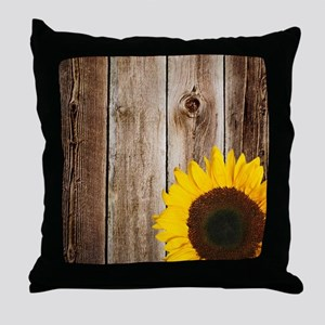 Rustic Barn Wood Sunflower Throw Pillow