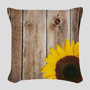 Rustic Barn Wood Sunflower Woven Throw Pillow