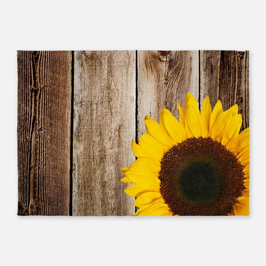 Rustic Barn Wood Sunflower 5'x7'Area Rug