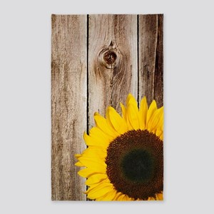 Rustic Barn Wood Sunflower Area Rug
