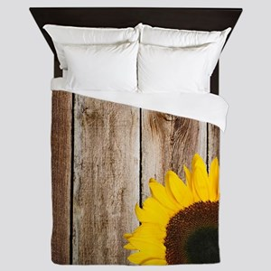 Rustic Barn Wood Sunflower Queen Duvet