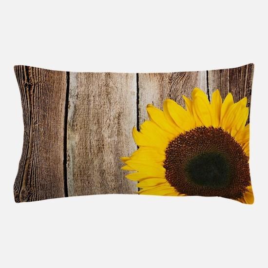 Rustic Barn Wood Sunflower Pillow Case