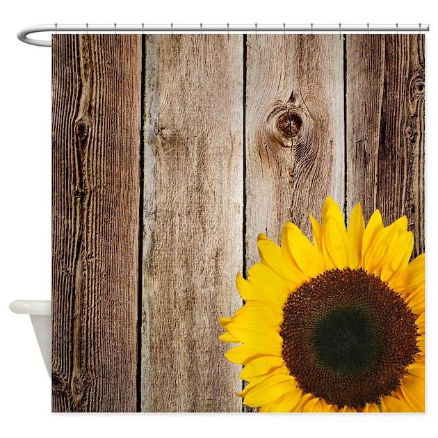 Rustic Barn Wood Sunflower Shower Curtain By Printcreekstudio